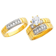 Yellow / White Gold Trio Set - 14 K - TC225