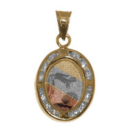 Yellow / White / Red Gold Baptism Medal w/ CZ - 14 K  - BPT007
