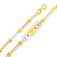 Yellow, White & Red Gold Stamped Figaro Chain - 14 K - 3.2 mm - CH135