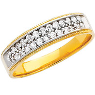 Yellow gold wedding band with CZ - 14K  3.6 gr. - RG223