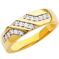 Yellow gold wedding band with CZ. - 14K  3.9 gr. - RG205