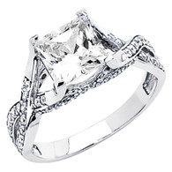 White gold engagement ring with CZ - 14K  3.6 gr. - RG57