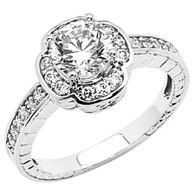 White Gold Engagement Ring - 14K  4.5 gr. - RG52