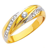 Yellow & White gold wedding band with CZ. 14K  3.9 gr. - RG149