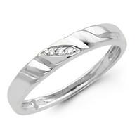 White gold wedding band with Diamonds - 14K  0.03Ct - DRG9B