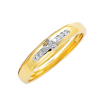 Yellow gold wedding band with Diamonds - 14K  0.03 Ct - DRG15B