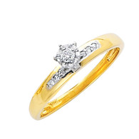Yellow Gold Engagement Ring - 14K  0.09 Ct - DRG15E