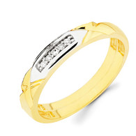 Yellow gold wedding band with Diamonds - 14K  0.05 Ct - DRG14B