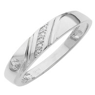 White gold wedding band with Diamonds - 14 K -  0.02Ct - DRG12B