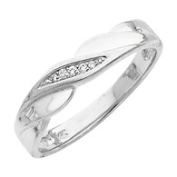 White gold wedding band with Diamonds - 14K  0.05 Ct - DRG10G
