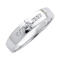 White gold wedding band with Diamonds - 14K  0.05 Ct - DRG7G