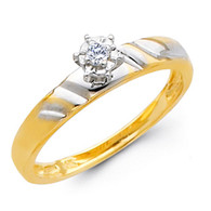 Yellow Gold Engagement Ring - 14K  0.05 Ct - DRG6E