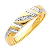 Yellow gold wedding band with Diamonds - 14K  0.05 Ct - DRG6G