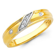 Yellow gold wedding band with Diamonds - 14K  0.05 Ct - DRG4B