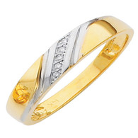 Yellow gold wedding band with diamonds - 14K  0.02 Ct - DRG2B