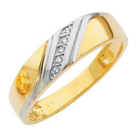 Yellow gold wedding band with Diamonds - 14K  0.03 Ct - DRG2G