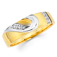 Yellow gold wedding band with Diamonds - 14K  0.06 Ct - DRG1B