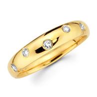 Yellow gold wedding band with diamonds - BD4-22