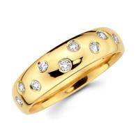 Yellow gold wedding band with diamonds - BD4-20