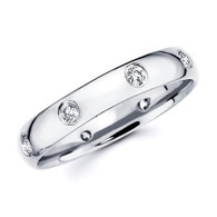 White gold wedding band with diamonds - BD4-13