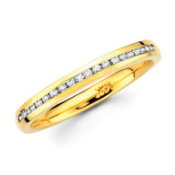 Yellow gold wedding band with diamonds - BD4-6