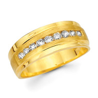 Yellow gold wedding band with diamonds - BD2-24