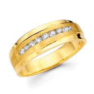 Yellow gold wedding band with diamonds - BD2-23
