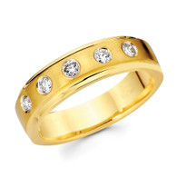 Yellow gold wedding band with diamonds - BD2-17