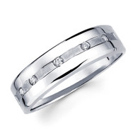 White gold wedding band with diamonds - BD2-13