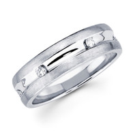 White gold wedding band with diamonds - BD2-10