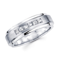 White gold wedding band with diamonds - BD2-6