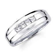 White gold wedding band with diamonds - BD2-1