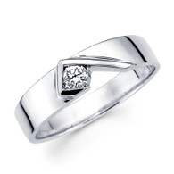 White gold wedding band with Diamonds - 14 K - BD1-23