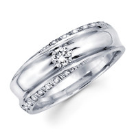 White gold wedding band with diamonds - BD1-15