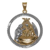 Yellow / White Gold Baptism Medal - 14 K - BPT010