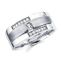 White gold wedding band with diamonds - BD1-3