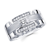 White gold wedding band with diamonds - BD1-1