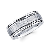 Men's white gold wedding band - BC1-1