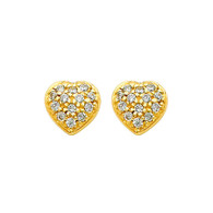 Yellow Gold Earrings - CZ - 14 K  - ER318