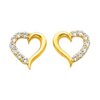 Yellow Gold Earrings - CZ - 14 K - ER317