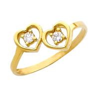 Yellow Gold Love Ring - CZ - 14 K - RG632