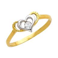 Yellow Gold Love Ring - CZ - 14 K  - RG631