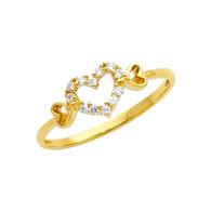 Yellow Gold Love Ring - CZ - 14 K - RG317