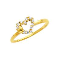 Yellow Gold Love Ring - CZ - 14 K - RG316