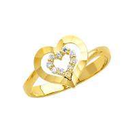 Yellow Gold Love Ring - CZ - 14 K - RG315