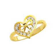 Yellow Gold Love Ring - CZ - 14 K - RG314