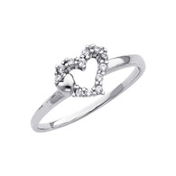 White Gold Love Ring - CZ - 14 K - RG293