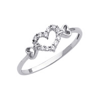 White Gold Love Ring - CZ - 14 K - RG294