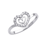 White Gold Love Ring - CZ - 14 K - RG292