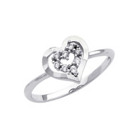 White Gold Love Ring - CZ - 14 K - RG291